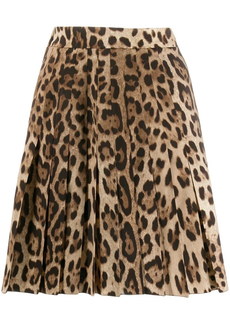Dolce & Gabbana leopard print pleated skirt