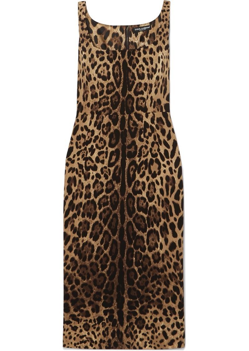 Dolce & Gabbana Leopard-print Silk-blend Satin Midi Dress