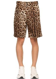 Dolce & Gabbana Leopard Print Stretch Drill Cotton Short