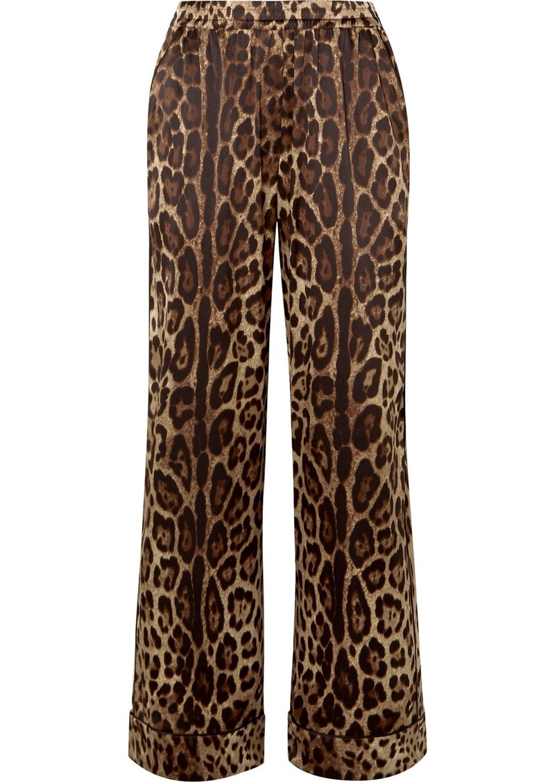Dolce & Gabbana Leopard-print Stretch-silk Satin Wide-leg Pants