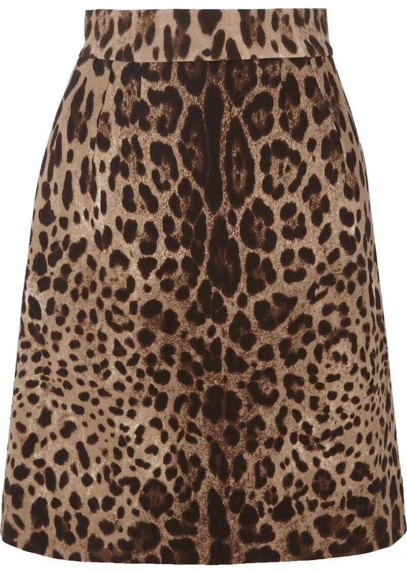 Dolce & Gabbana Leopard-print Wool-crepe Skirt