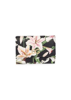 Dolce & Gabbana Lily-Print Leather Flap Wallet