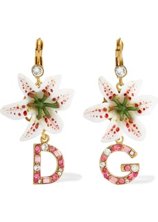 Dolce & Gabbana Lilium Gold-tone, Resin And Crystal Earrings
