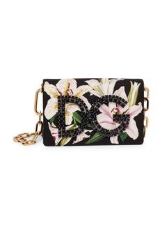 Dolce & Gabbana Millennial Lily-Print Embellished Shoulder Bag