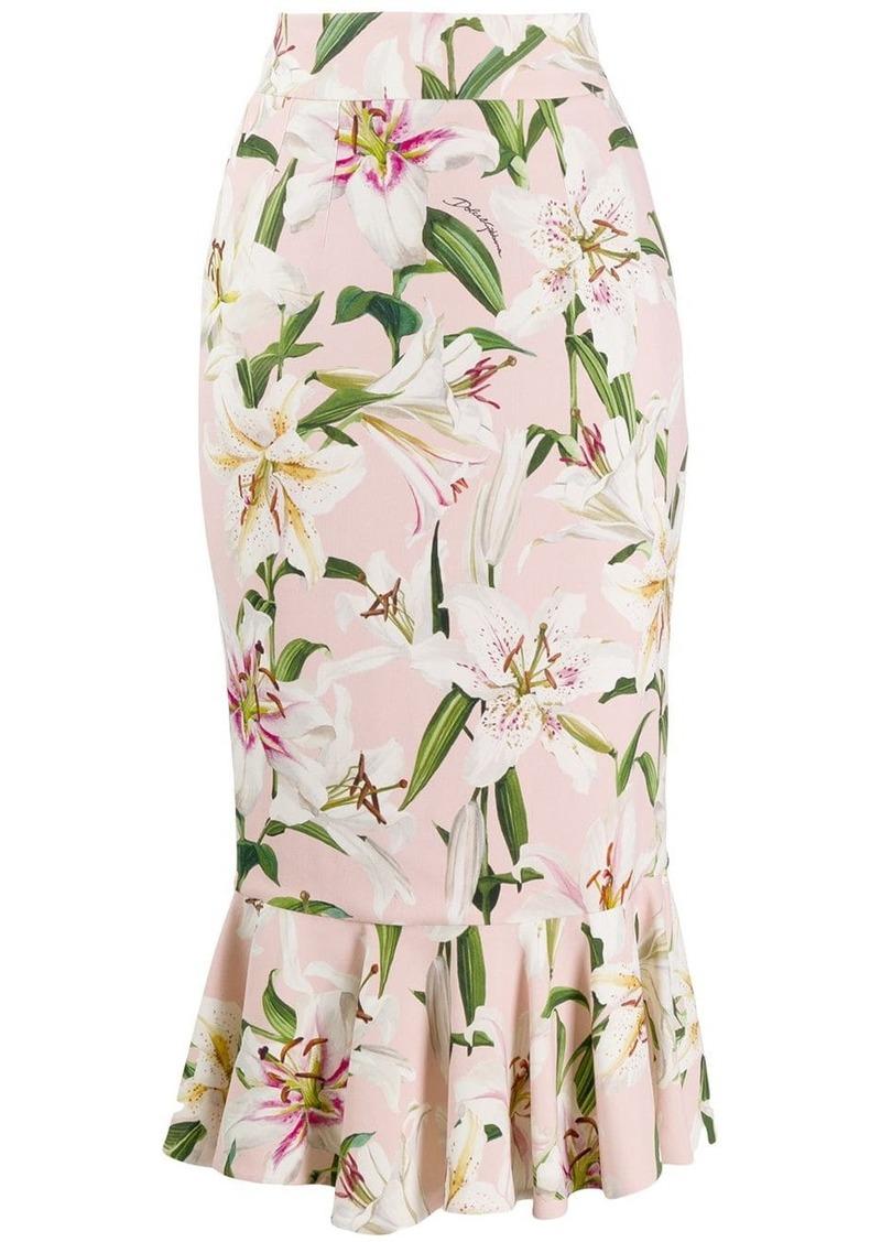 Dolce & Gabbana Lilium-print midi skirt