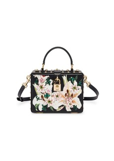 Dolce & Gabbana Dolce Lily-Print Studded Leather Box Bag