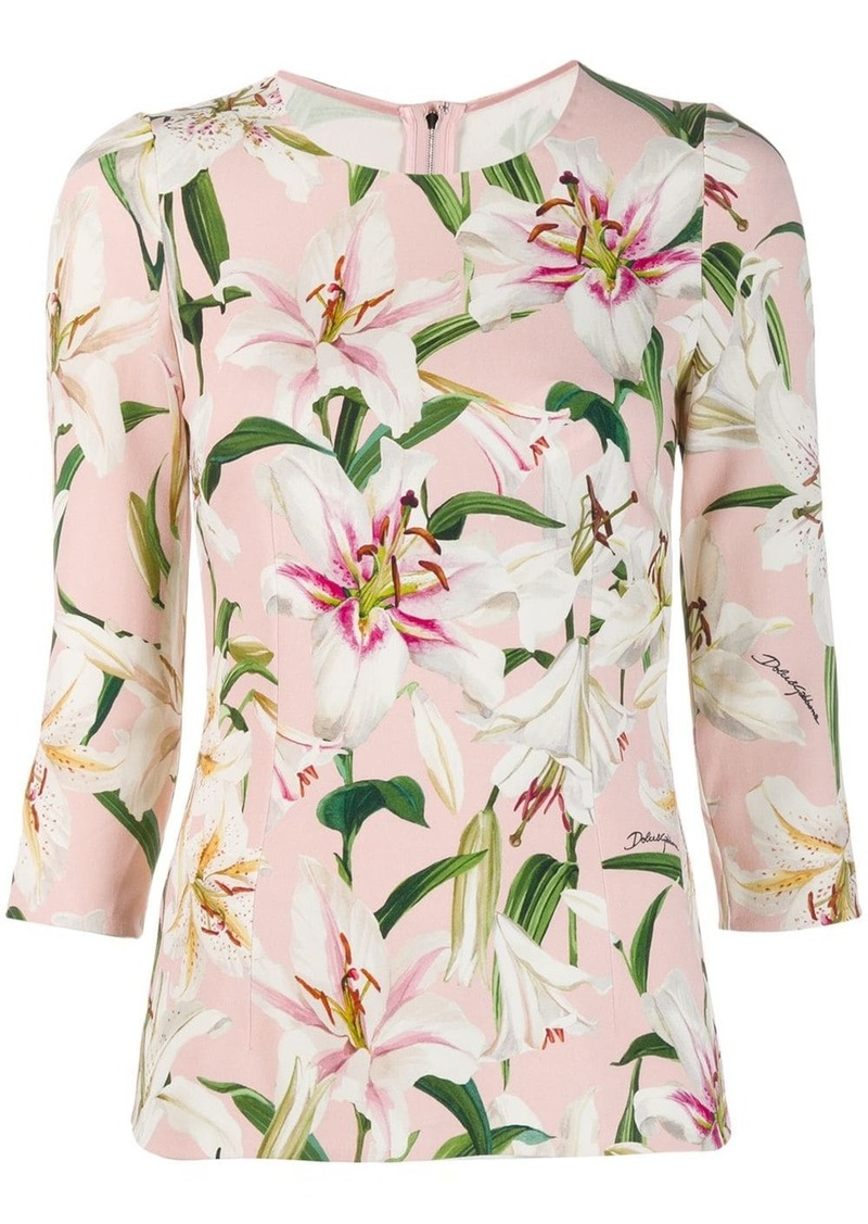 Dolce & Gabbana Cady lily print top