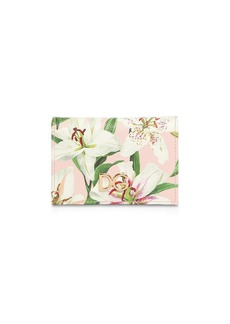 Dolce & Gabbana Lily Print Leather Card Case