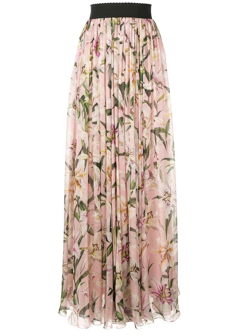 Dolce & Gabbana Lily print long skirt