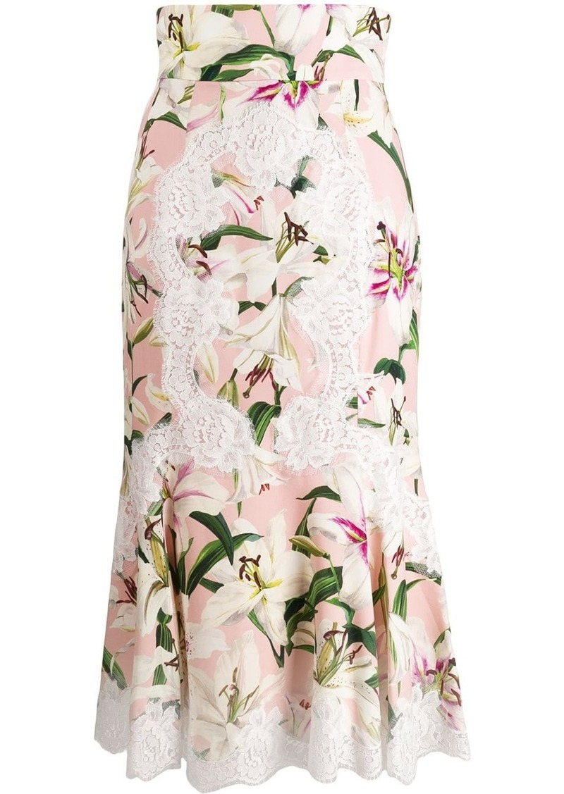 Dolce & Gabbana Lily print midi skirt