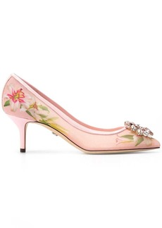 Dolce & Gabbana lily print pumps with brooch
