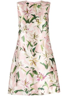 Dolce & Gabbana lily print satin dress