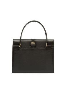 Dolce & Gabbana Lizard-Embossed Leather Satchel