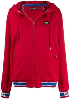 Dolce & Gabbana logo appliqué zipped hoodie