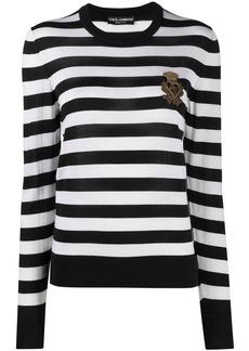 Dolce & Gabbana logo-embroidered striped jumper