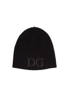 Dolce & Gabbana Logo Embroidery Wool Rib Knit Beanie