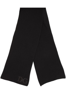Dolce & Gabbana Logo Embroidery Wool Rib Knit Scarf
