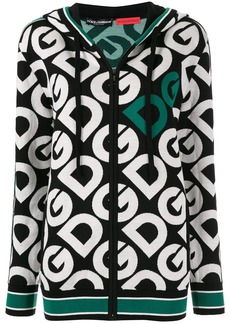 Dolce & Gabbana logo knitted zip-up hoodie