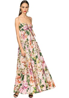 Dolce & Gabbana Long Flower Print Cotton Poplin Dress