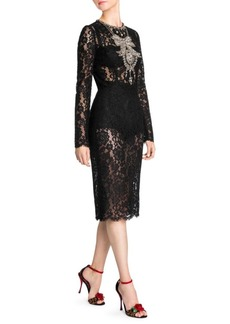 Dolce & Gabbana Long Sleeve Lace Embroidered Dress