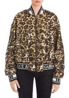 Dolce & Gabbana Leopard Print Sequin Logo Trim Bomber