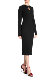 Dolce & Gabbana Long Sleeve Embellished Heart Cady Dress