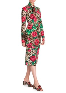 Dolce & Gabbana Silk Charmeuse Tie Neck Tubino Dress