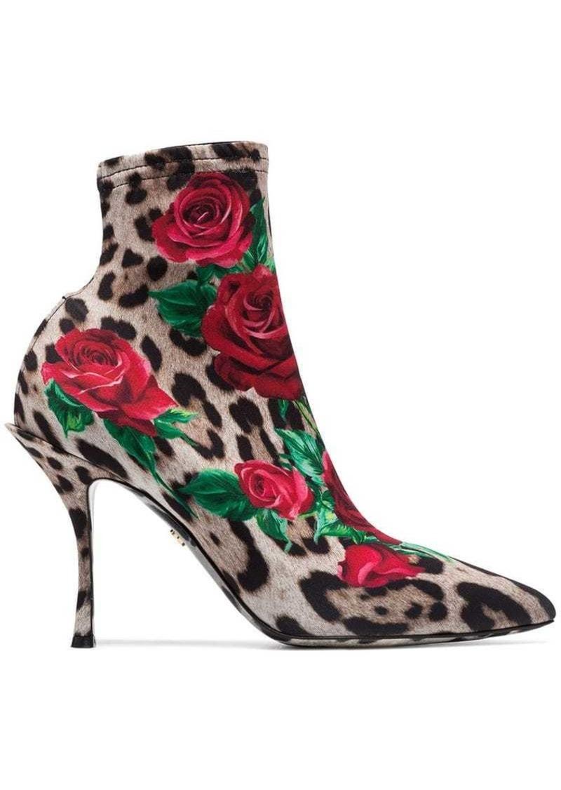 leopard rose print boots