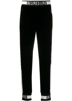 Dolce & Gabbana Love is Love velvet track pants