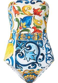 Dolce & Gabbana Maiolica Cutout Printed Bandeau Swimsuit