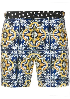 Dolce & Gabbana Maiolica print swim shorts