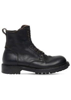 Dolce & Gabbana Matte Leather Zip-up Combat Boots