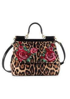 Dolce & Gabbana Medium Leopard Floral Sicily Satchel