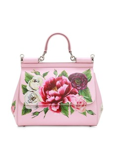 Dolce & Gabbana Medium Sicily Floral Printed Leather Bag
