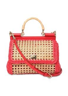 Dolce & Gabbana Medium Sicily Raffia & Leather Bag