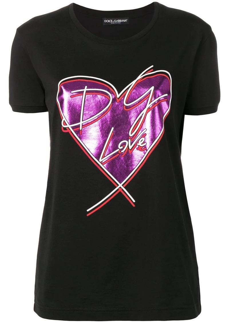 Dolce & Gabbana metallic heart print T-shirt