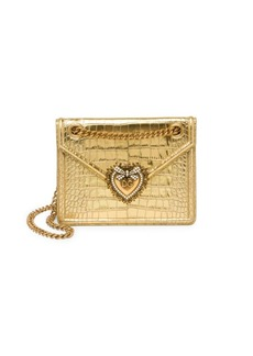 Dolce & Gabbana Mini Devotion Croc-Embossed Metallic Leather Crossbody Bag