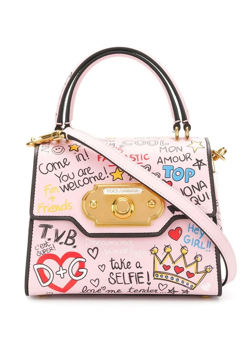 Dolce & Gabbana mini Welcome mural print tote