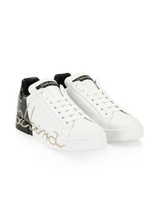 Monochrome Logo Leather Sneakers
