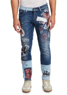 Dolce & Gabbana Multi-Patch Embroidered Jeans