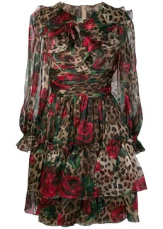 Dolce & Gabbana multi-print ruffled dress