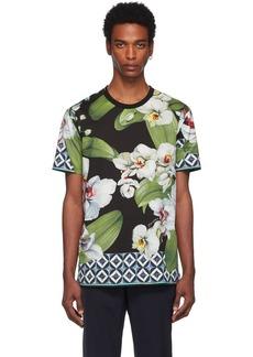 Dolce & Gabbana Multicolor Orchid Print T-Shirt
