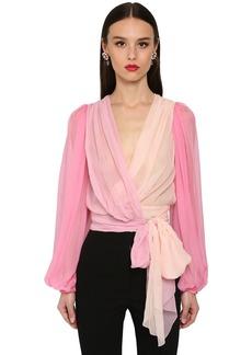 Dolce & Gabbana Multicolor Silk Chiffon Wrap Shirt