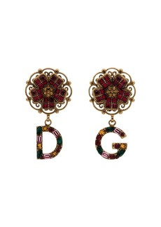 Dolce & Gabbana multicoloured branded charm flower drop earrings
