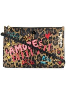 Dolce & Gabbana mural-print leopard clutch