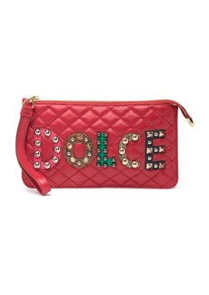 Dolce & Gabbana Nappa Matelasse Patch Ricamo Leather Wristlet Purse