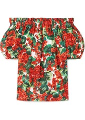Dolce & Gabbana Off-the-shoulder Floral-print Cotton-poplin Blouse