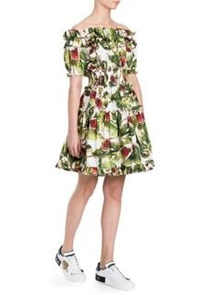 Dolce & Gabbana Off-The-Shoulder Printed Ruffle Mini Dress