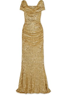 Dolce & Gabbana Draped Sequined Silk-blend Gown