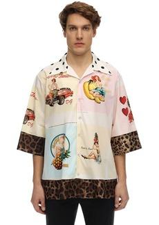 Dolce & Gabbana Over Pin-up Print Cotton & Silk Shirt